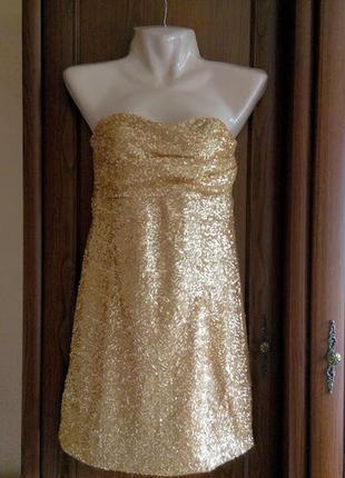 Золотистое золотое вечернее мини платье из пайеток блесток бюс...