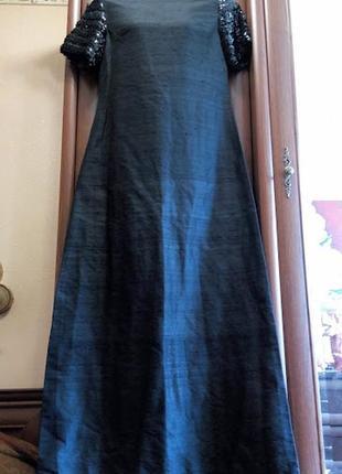 Черное длинное макси платье с пайетками блестками блестящее