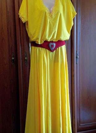 Желтое длинное платье масло батал большого размера