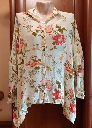 Блузка рубашка с цветами птицами asos батал большого размера т...