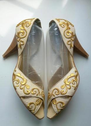 Босоножки летние туфли с узорами кожаные д'орсэ san marina отк...