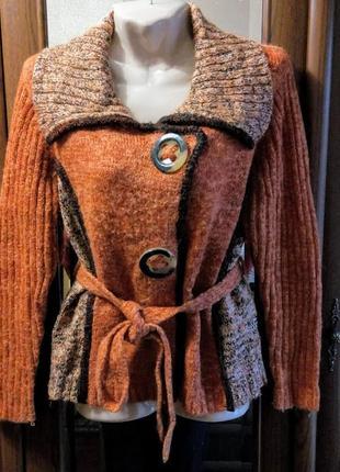 Теплая шерстяная кофта на кнопках оранжевая кардиган с большим...