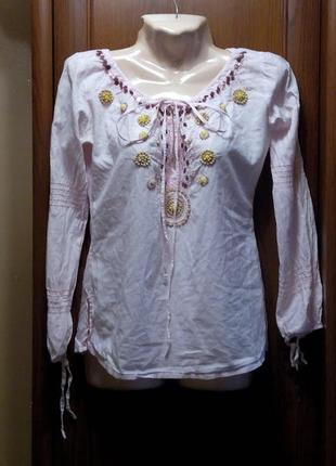 Вишиванка туника блузка сорочка батист розовая s:aix