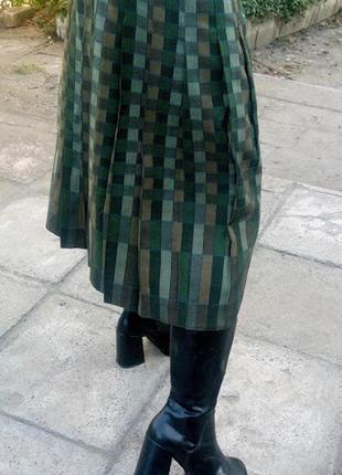 Юбка плиссе в клетку шерстяная плиссерованная клетчатая винтаж