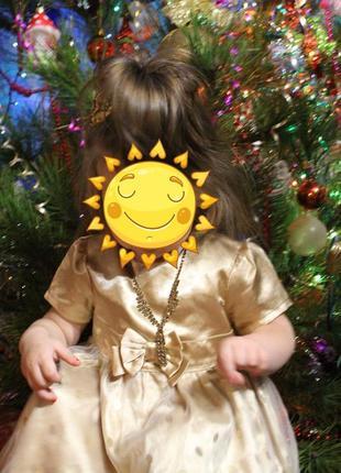 Золотое атласное платье нарядное h&m на 1,5-2 года золотистое