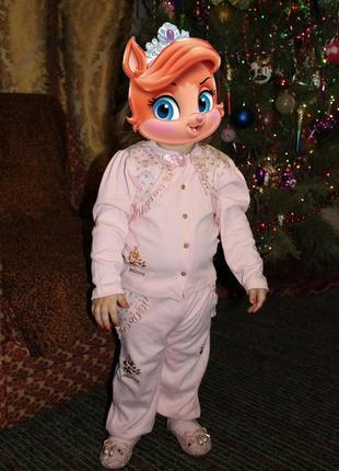 Розовый с золотом костюм на девочку нарядный
