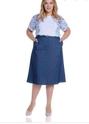 Джинсовая юбка трапеция большого размера m&s