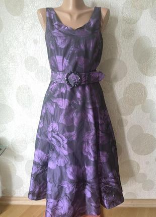 Шикарное вечернее платье миди с принтом  бренда люкс