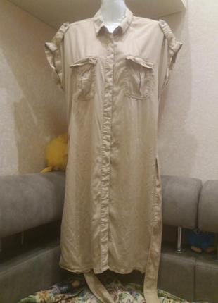 Платье рубашка  в стиле сафари..цвета камел     №403 распродажа