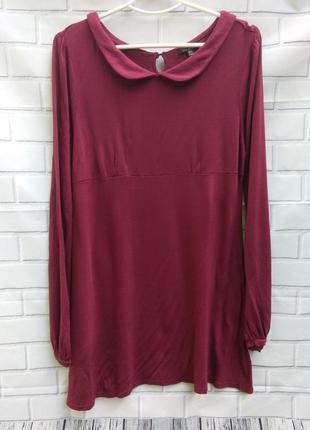 Платье - туника (бургунди)  с кокетливым воротничком topshop