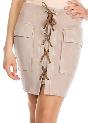 Новая замшевая юбка на шнуровке