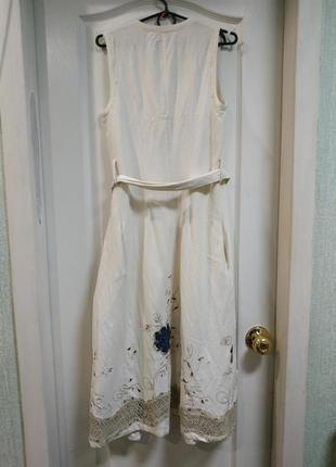 Платье с запахом лен