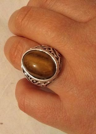 Мужской перстень (тибетский сплав) 22 размер Тигровый глаз