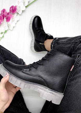 Акция ботинки сапоги полусапоги черные кожаные р 36-40