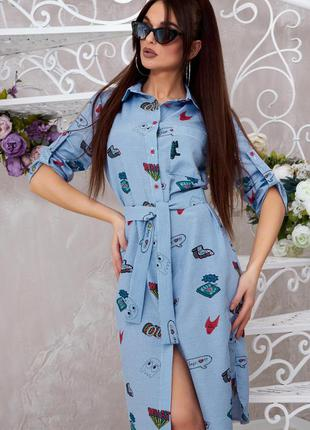 Стильное летнее платье рубашка коттон