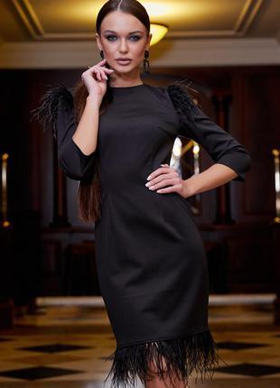 Гламурное черное вечернее платье