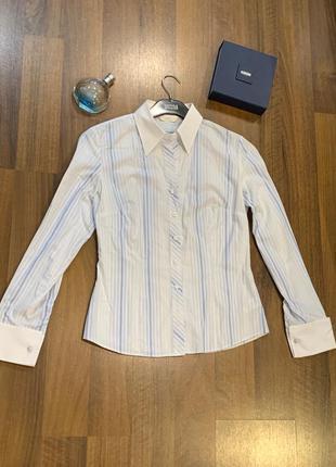 Рубашка блуза marks&spencer белая в сине-голубую полоску со съ...