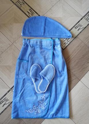 Набор для бани, сауны.  юбка-банник тапочки челма