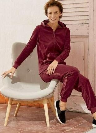 Шикарный женский велюровый костюм с пайетками esmara германия,...