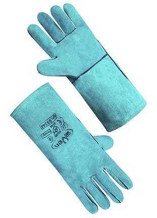 Перчатка крага на подкладке зеленая длинная