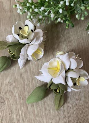 Серьги ручной работы с цветами.