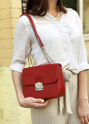 Красная сумка - клатч на цепочке с замком фурла. сумочка клатч...