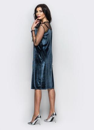 Комплект велюровое платье в бельевом стиле на тонких бретелях ...