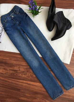 Хлопковые джинсы прямого кроя, завышенная посадка талия