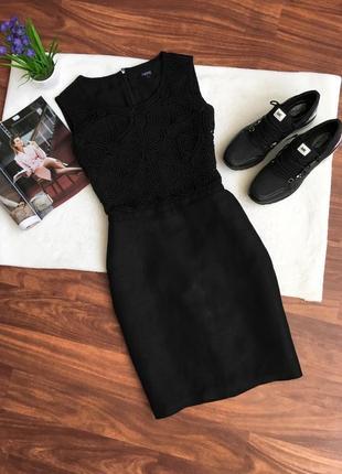 Льняное платье с кружевом миди next, базовое, офисное