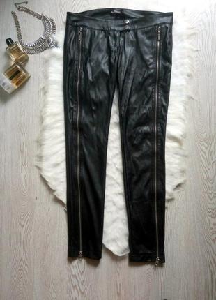 Черные кожаные штаны брюки с молниями замками спереди низкая т...