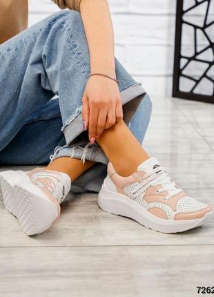 Новая коллекция кожаные кроссовки перфорация белый пудра