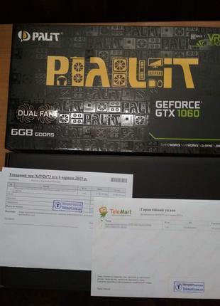 Видеокарта Palit GeForce GTX 1060 6GB НОВАЯ, ГАРАНТИЕ 2 ГОДА