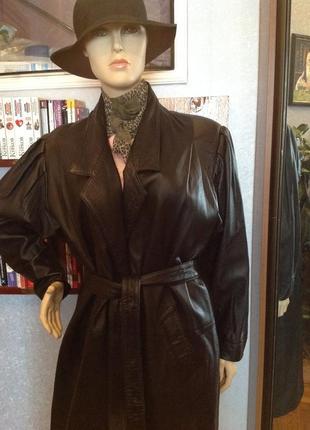 Большой размер. пальто - плащ кожаный, р. 54-56