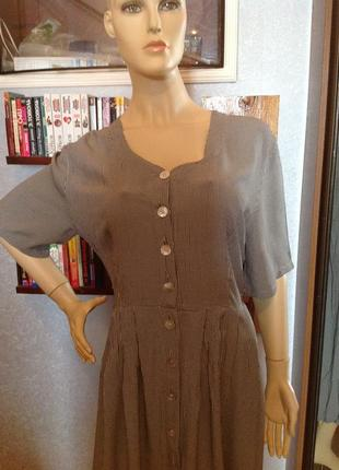Натурально платье-халат в мелкую клеточку, с плетенной спинкой...