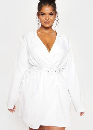 Платье рубашка 🔥prettylittlething🔥 белое платье
