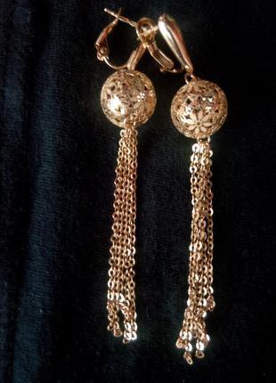 Серьги золото 585 желтое франчелли