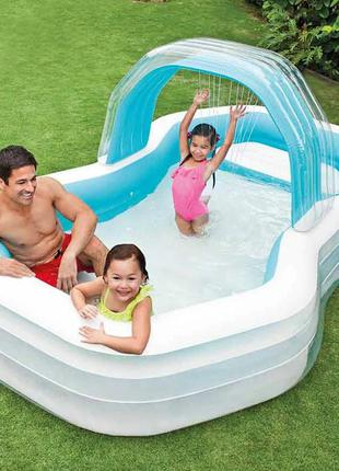Детский надувной бассейн Intex Оазис, 310х188х130см, с навесом и