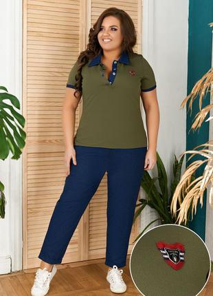 Костюм джинс, фактурный трикотаж, 3 цвета 48-58
