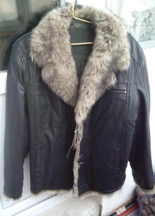 Куртка зимняя кожаная, дублёнка, новая, размер 50-52