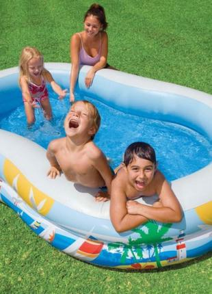 Детский надувной бассейн Intex Райская Лагуна, 262х160х46см
