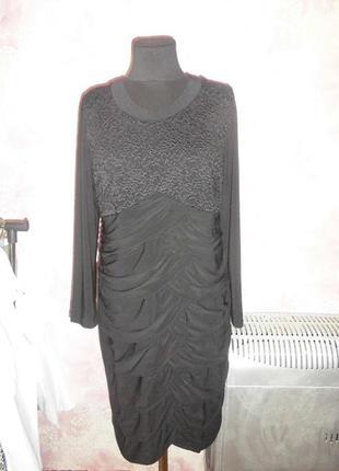 Gannel шикарное черное платье с  гипюром 50 р в идеале
