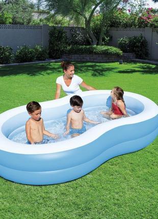Детский надувной бассейн Bestway голубой, 262х157х46см