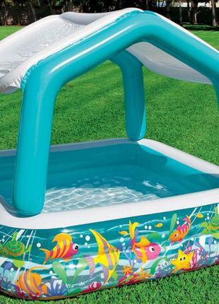 Детский надувной бассейн Intex Аквариум со съемным навесом, 157х1