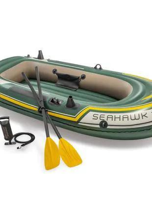 Двухместная надувная лодка 236х114см Intex Seahawk 2 Set, веслами