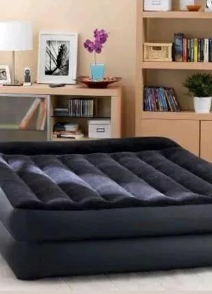 Надувная кровать матрас Intex 152х203х42, встроенный электронасос