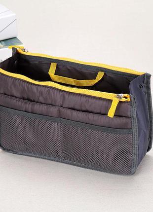Косметичка органайзер для сумки bag in bag grey/yellow probeauty