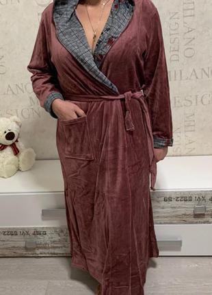 Велюровые халаты турция. велюровый халат с поясом большой разм...