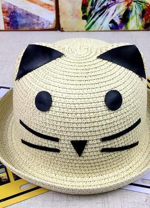 13-182 красивая детская шляпа кошечка панама панамка