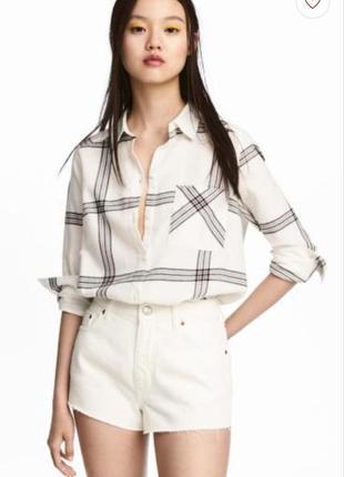 Хлопковая рубашка бренд h&m.