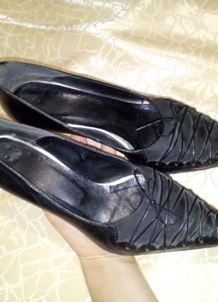 Стильные туфли-лодочки, кожа, средний каблук